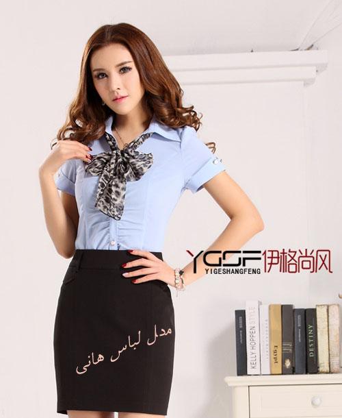 بلوز دامن دخترانه مجلسی کره ای بلوزآبی و دستمال گردن با یقه مردانه