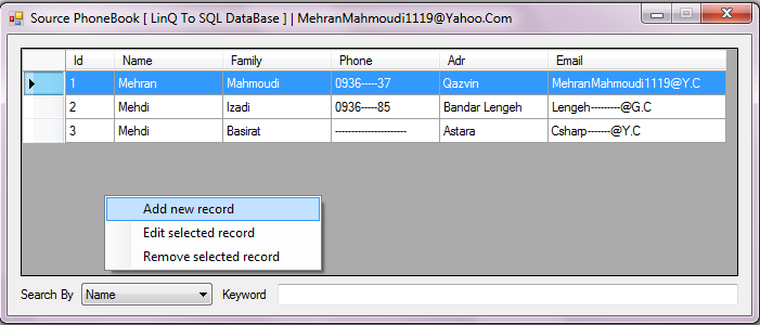 Source PhoneBook - SQL DataBase Linq_to_sql_screen