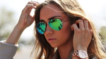 عینک آفتابی طرح ریبن شیشه سبز