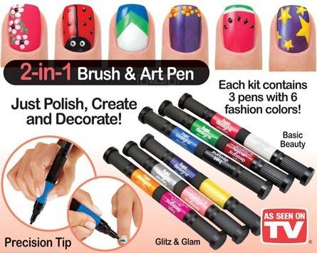 لاک قلم طراحی روی ناخن HOT DESIGNS
