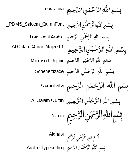 Best font For display Quran type