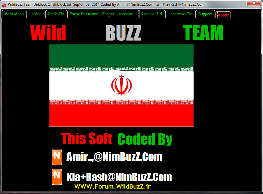 WildBuzZ TeaM Unblock Or Unremove Jid September 2014 Coded By Amir..,@NimBuzZ.Com & Kia=Rash@NimBuzZ.Com  About