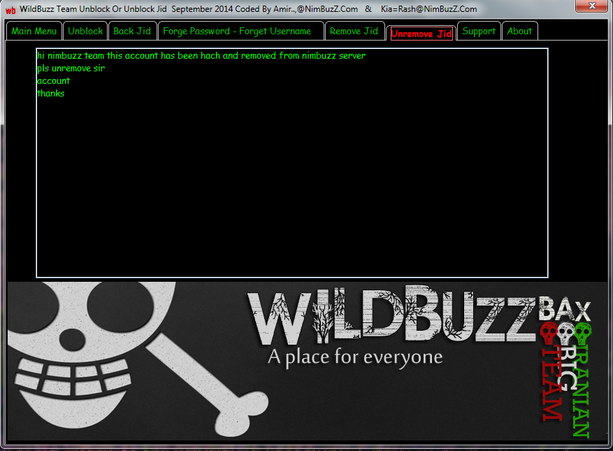 WildBuzZ TeaM Unblock Or Unremove Jid September 2014 Coded By Amir..,@NimBuzZ.Com & Kia=Rash@NimBuzZ.Com  Unrmve