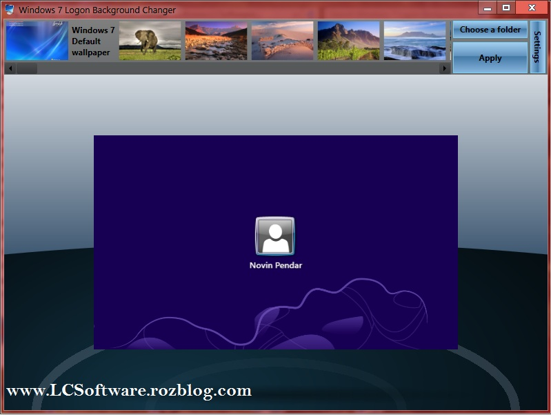 نرم افزار Windows 7 Logon Background Changer 1.3.4