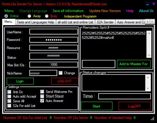 World s2a Sender For Server > Version 2.0.0.0 0000004565456465