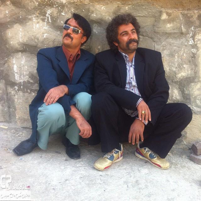 احمد مهران فر و محسن تنابنده در پشت صحنه فیلم ایران برگر