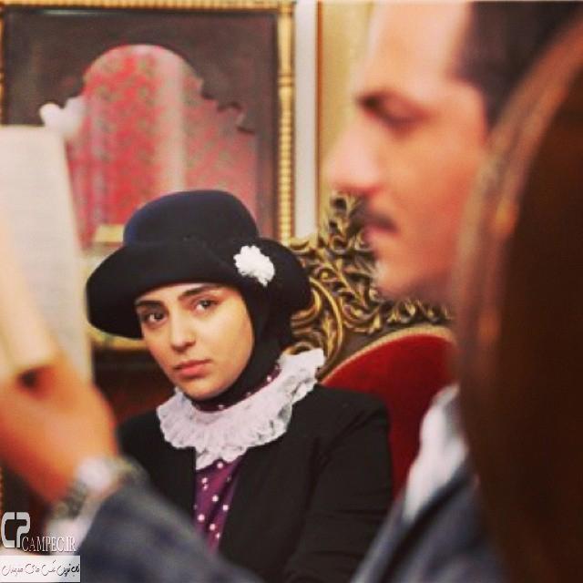 هستی مهدوی فر و عباس غزالی در پشت صحنه سریال هانیه