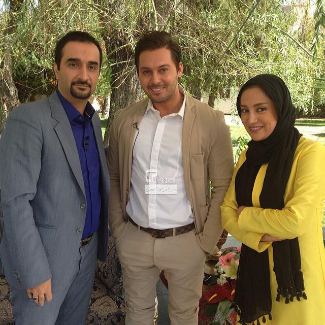 بهاره افشاری و دانیال عبادی در پشت صحنه برنامه زنده رود