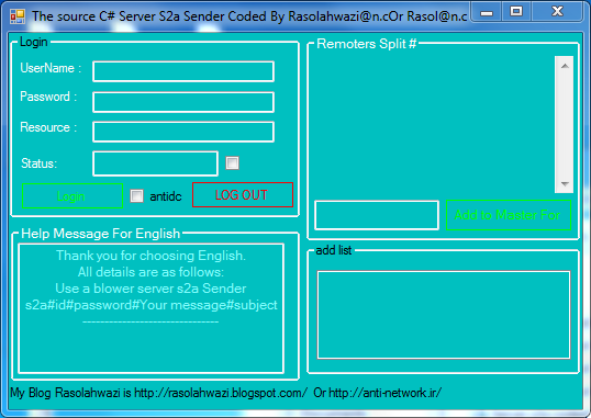 source C# Server S2a Sender [darkhasti] Coded By Rasolahwazi@n.c 12333
