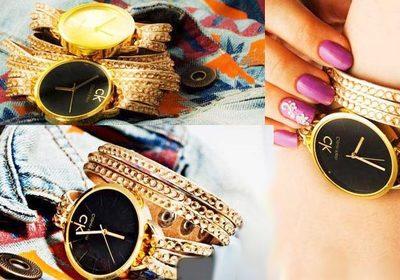 ساعت مچی رنگ طلایی زنانه در دو رنگ صفحه طلایی و مشکی