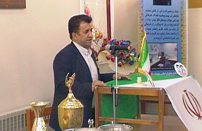 مهندس محمدبابازاده رئیس اداره ورزش و جوانان شهرستان آذرشهر در اولین همایش فرهنگی و ورزشی  شهرستان آذرشهر