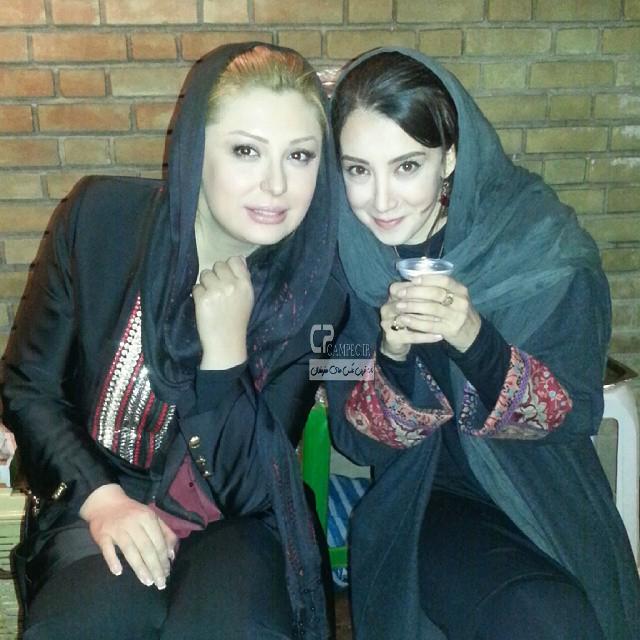 نیوشا ضیغمی و سحر جعفری جوزانی در پشت صحنه فیلم ایران برگر