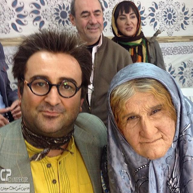 محسن تنابنده در نقش پیرزن و مهران احمدی در پشت صحنه سریال ابله