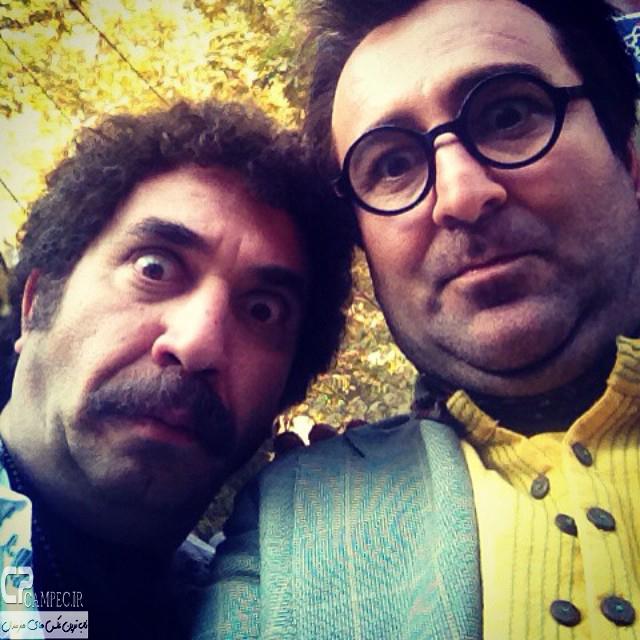 مهران احمدی و سیامک انصاری در پشت صحنه سریال ابله