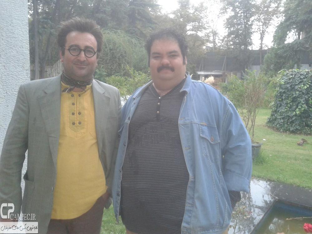 علی برقی و مهران احمدی در پشت صحنه سریال ابله