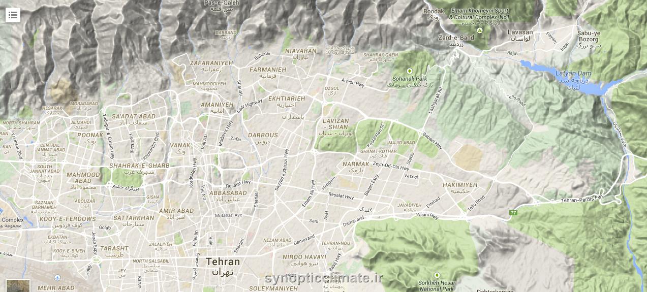 نقشه توپوگرافی تهران