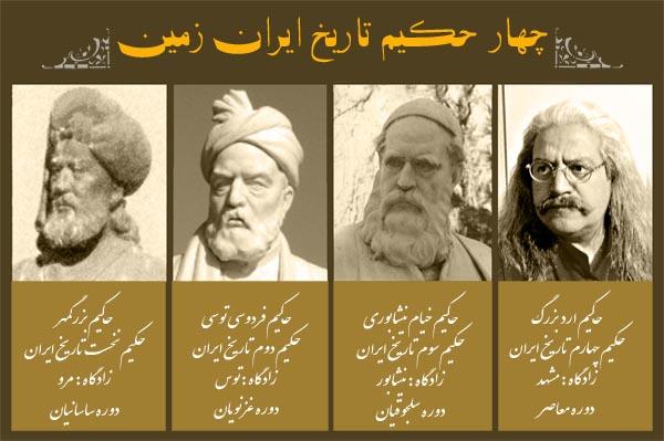 چهار حکیم تاریخ ایران ، حکیم بزرگمهر ، حکیم فردوسی طوسی ، حکیم عمر خیام ، حکیم ارد بزرگ