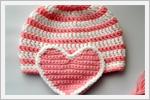 بافت کلاه قلاب بافی دخترانه ( با طرح قلب )