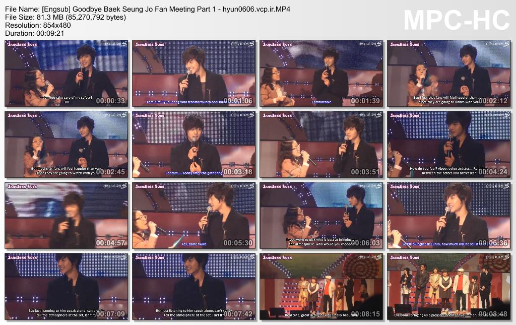 Seung Jo Collection - Fanmeeting - Talk - Engsub - Goodbye Baek Seung Jo FM 2010.10.21