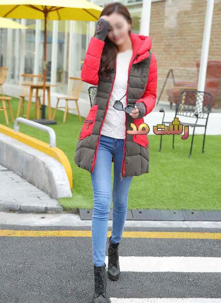 مدل کاپشن بلند رنگ قرمز دخترانه خارجی کلاه دار