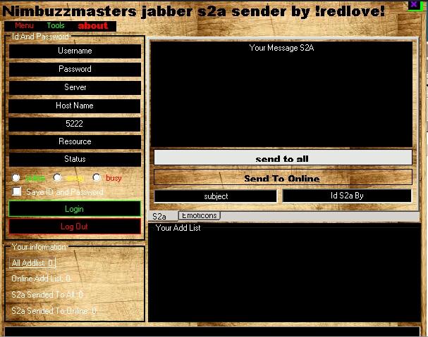 Nimbuzzmasters jabber addlist backuper and s2a sender  Nbm1