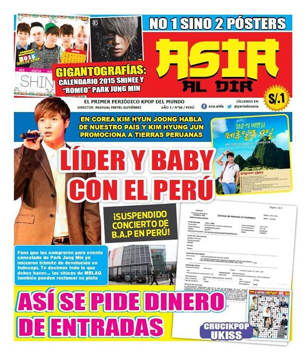 [Scan] Kim Hyun Joong On The Cover Of The Peruvian Magazine Asia Al Día No 96 [291014]