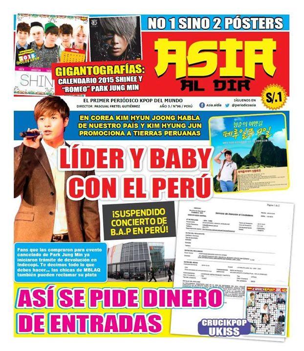 [Scan] Kim Hyun Joong On The Cover Of The Peruvian Magazine Asia Al Día No 96 [291014]