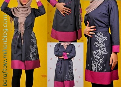 فروش مانتو دخترانه رنگ خاکستر با نوار سرخ آبی جدید 2015