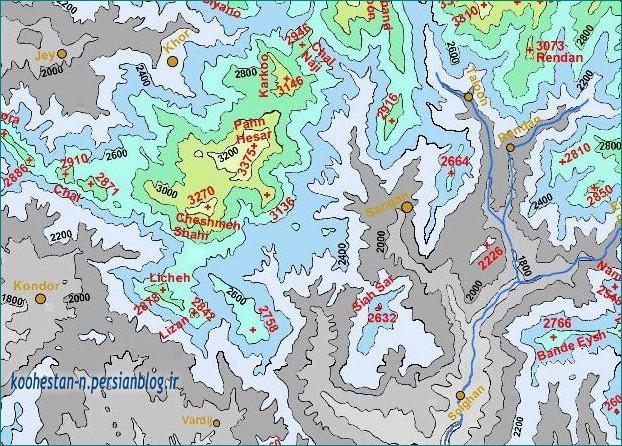 نقشه توپوگرافی - موقعیت قله چشمه شاهی