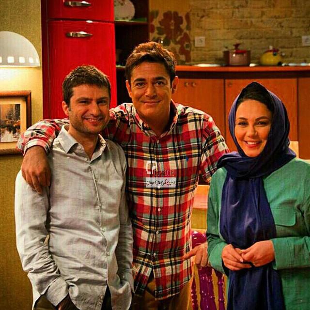 بهنوش بختیاری و محمد رضا گلزار و شهرام حقیقت دوست در پشت صحنه سریال عشق تعطیل نیست