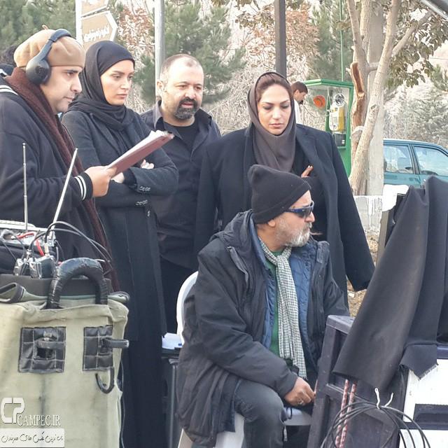 علی صالحی و بهنوش طباطبایی در پشت صحنه سریال میکائیل