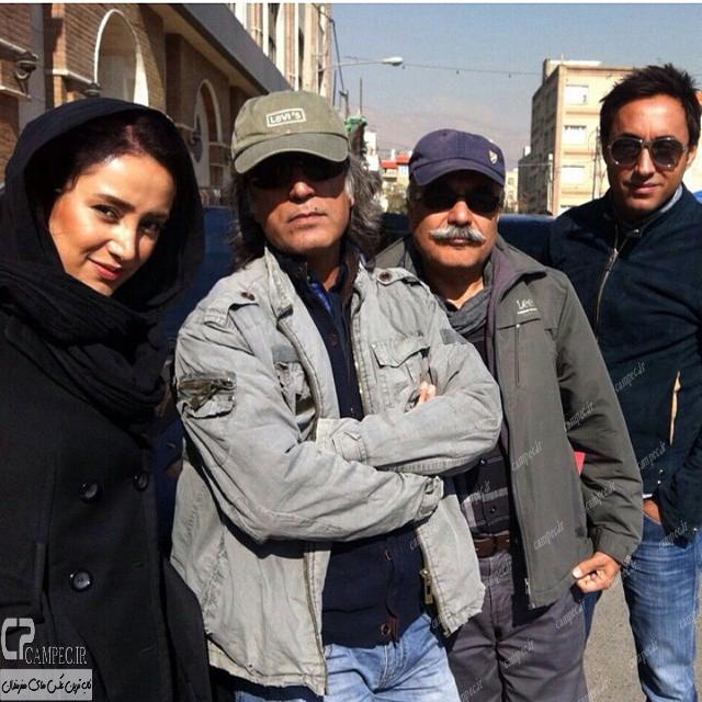 بهاره افشاری و امیر حسین رستمی در پشت صحنه سریال آخرین بازی