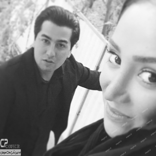 بهاره افشاری و مانی نوری در پشت صحنه سریال آخرین بازی