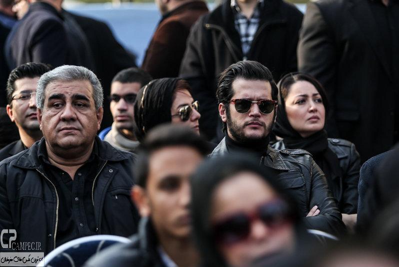 سیاوش خیرابی و مجید شهریاری در مراسم تشییع پیکر مرتضی پاشایی