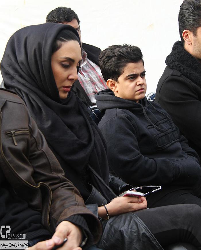 لیلا بلوکات و امیر محمد متقیان در مراسم خاکسپاری مرتضی پاشایی