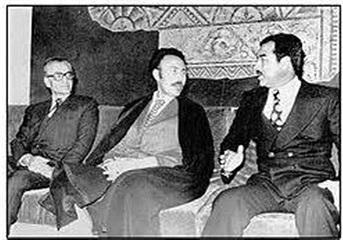 محمدرضاشاه پهلوی در کنار صدام حسین و بومدیم رئیس جمهور الجزایر