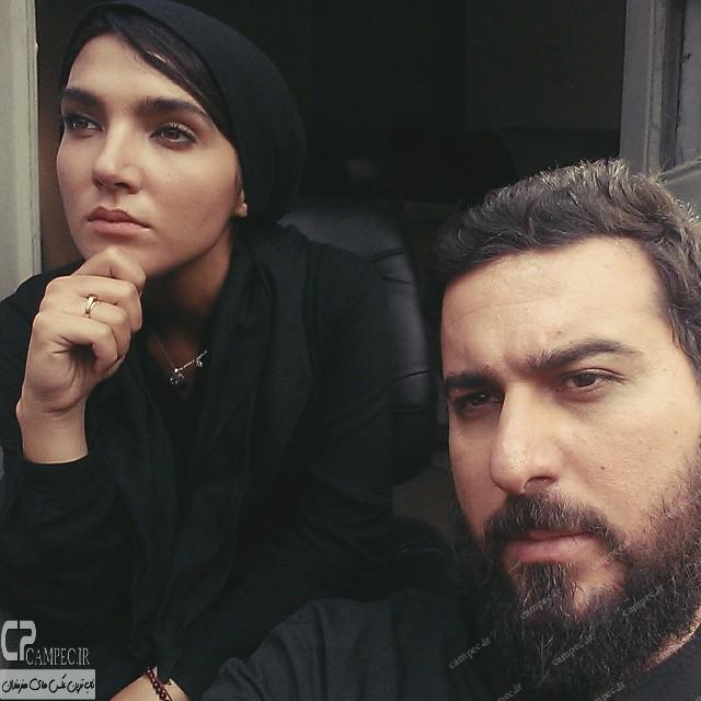محسن کیایی و سارا رسول زاده در پشت صحنه سریال پرده نشین