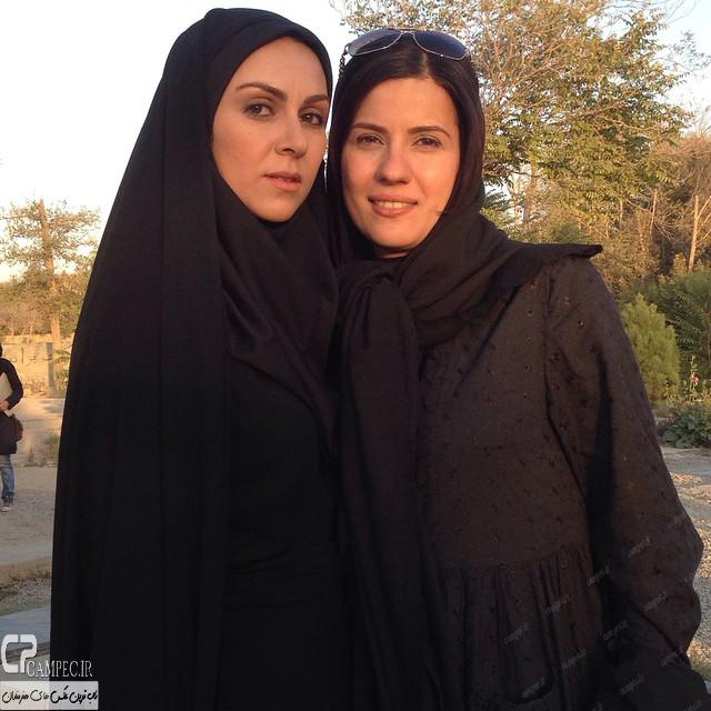 سارا بهرامی و شیوا ابراهیمی در پشت صحنه سریال پرده نشین