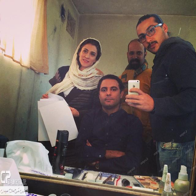 علی مردانه و ویشکا آسایش در پشت صحنه سریال پرده نشین