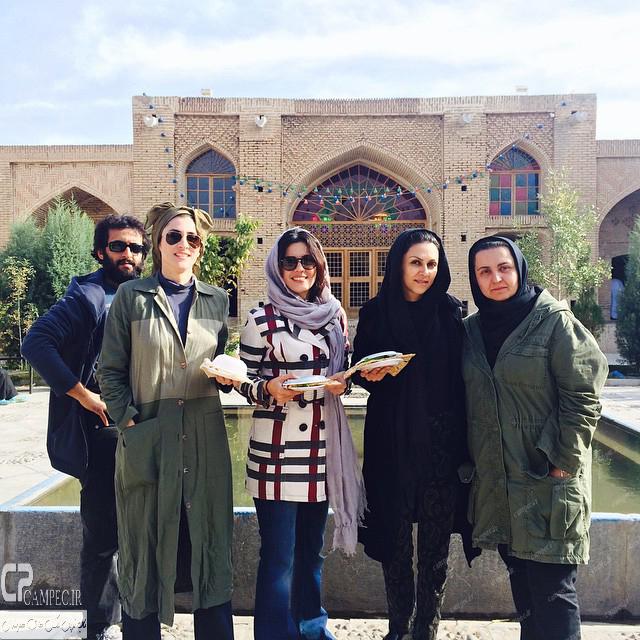 سارا بهرامی،شیوا ابراهیمی و ویشکا آسایش در پشت صحنه سریال پرده نشین