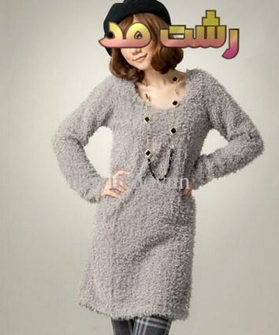 لباس تونیک زمستانه بلند دخترانه لاغر اندام