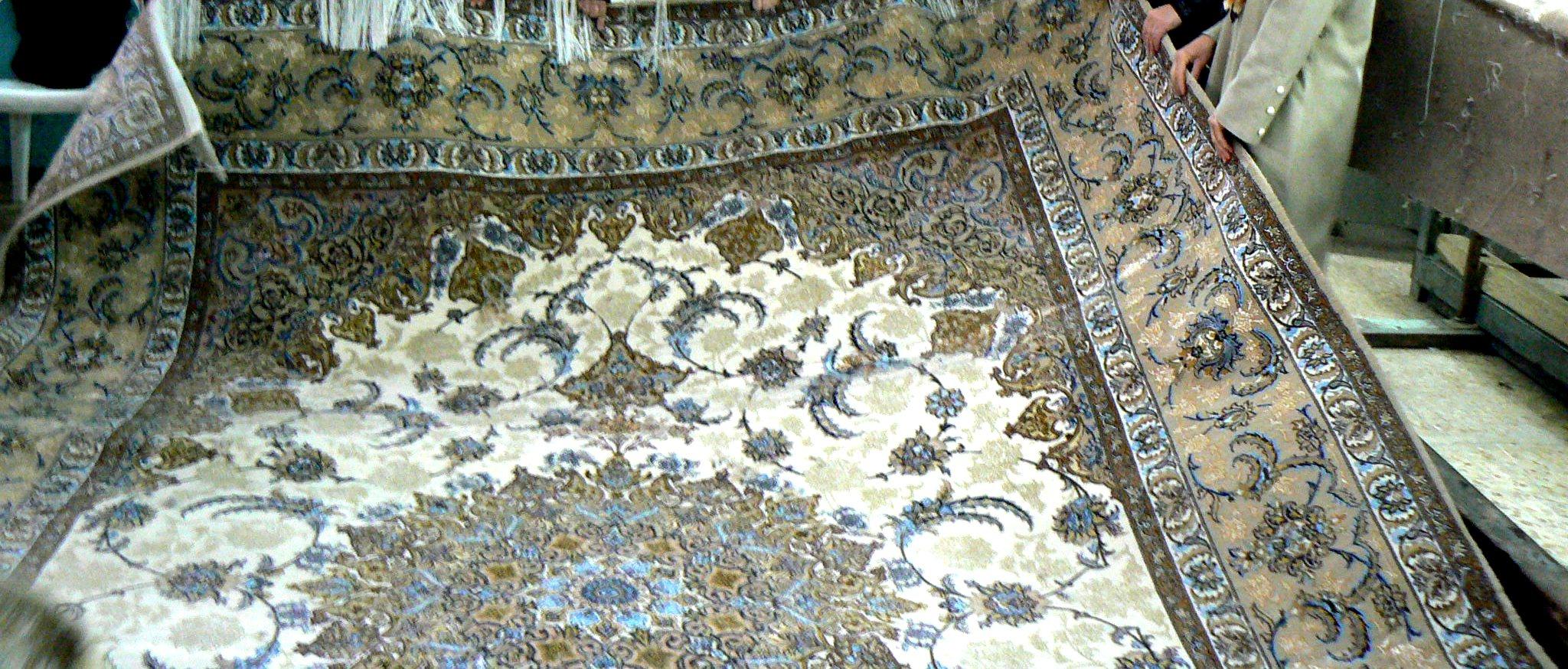 فرش  اصفهانی ابریشم باف