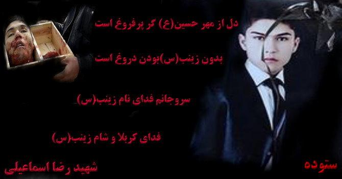 شهید رضا اسماعیلی،عکس زیبا از شهید رضا اسماعیلی،عکس شهدای مدافع حرم حضرت زینب(س)