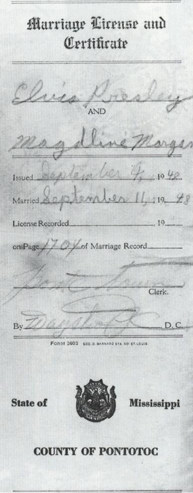 این هم عکس آن سند که الویس نام خودش و مگدالین مورگان را در آن ثبت کرد