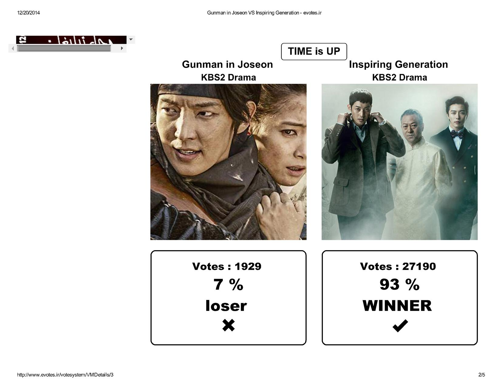 Gunman in Joseon VS Inspiring Generation