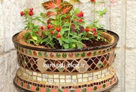 آموزش درست کرن گلدان حیاط با رینگ ماشین