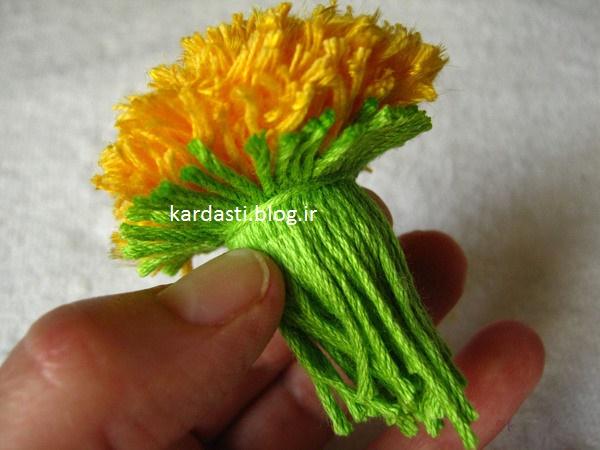 آموزش درست کردن گل کاموایی زیبا