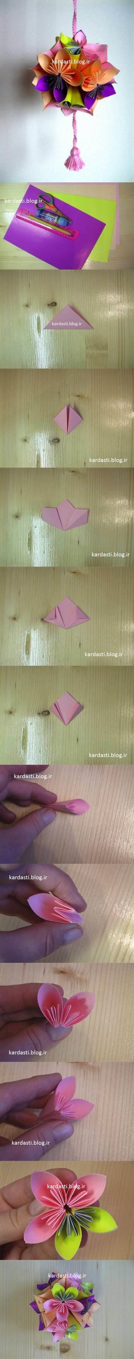 درست کردن گل گرد با کاغذ رنگی