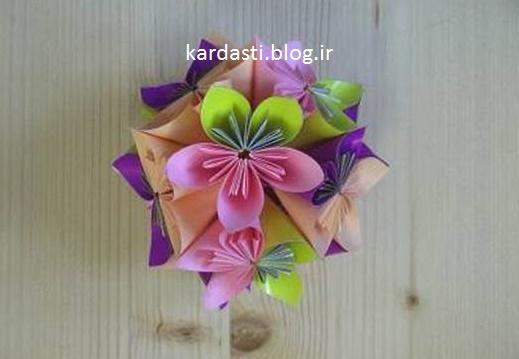 آموزش درست کردن گل گرد با کاغذ رنگی