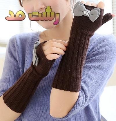 مدل دستکش مشکی قهو های زنانه دخترانه کره ای
